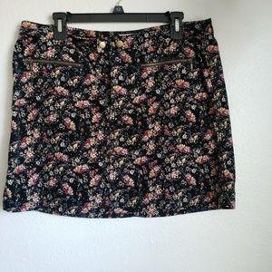 Corduroy Floral Mini Skirt